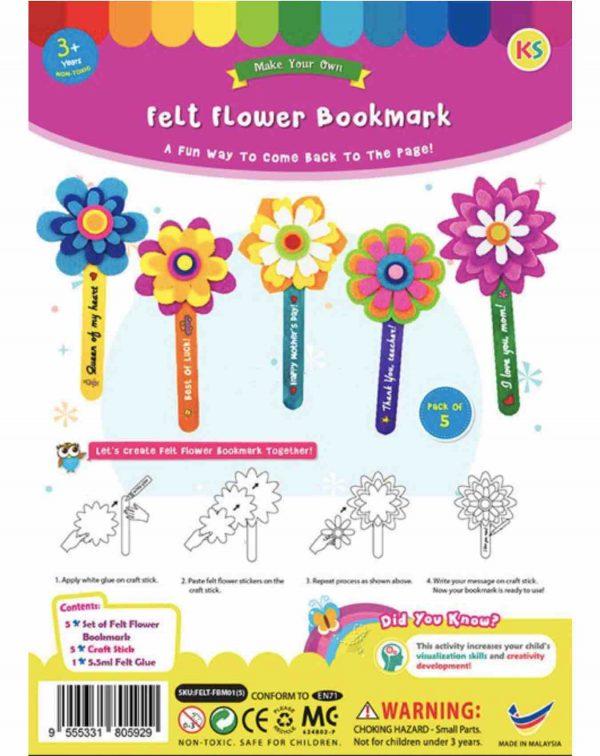 Felt flower bookmark 01